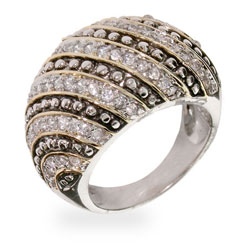 Steven Lagos Inspired Sterling Silver CZ Rope Style Cocktail Ring