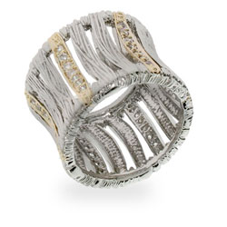 Designer Inspired Precious Safari Silver & Gold CZ Ring