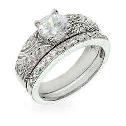 Samantha's Victorian Antique CZ Deco Silver Ring Set