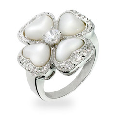 Addison's Mother of Pearl and CZ Flower Ring