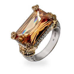 Designer Style Champagne CZ Cocktail Ring - Clearance Final Sale