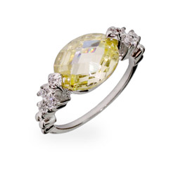 Beautiful Canary and Diamond CZ Silver Ring