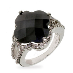 Designer Style Onyx and CZ Four Petal Clover Ring