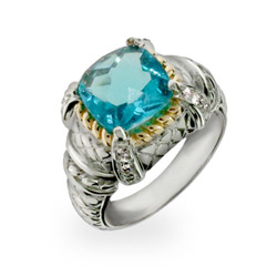 Designer Style Blue Topaz CZ Ring with Gold Accent