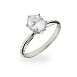 Anastasia's Oval Solitaire CZ Engagement Ring