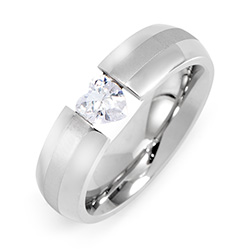 Floating CZ Heart Stainless Steel Ring