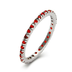 Ruby CZ Sterling Silver Stackable Eternity Band
