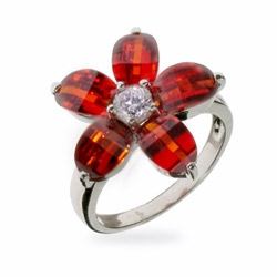 Designer Inspired Pretty Red CZ Sterling Silver Flower Ring