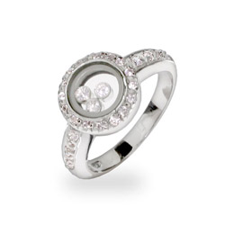 Chopard Inspired Floating CZs Sterling Silver Circle Ring