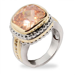 Carrie's Designer Style Champagne Cushion Cut CZ Silver Ring