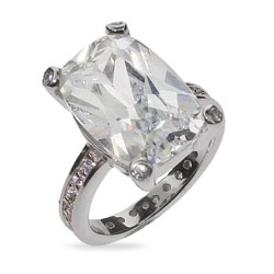 Jennifer Aniston Replica Sterling Silver CZ Engagement Ring