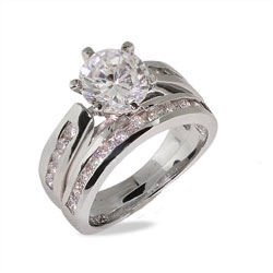 Stunning Brilliant Cut Channel Set CZ Engagement Ring Set