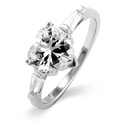 Heart Shaped CZ Sterling Silver Promise Ring