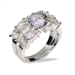 Brilliant Cut Ten Stone Engagement Ring Set