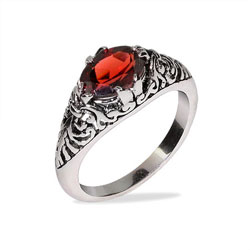 Sterling Silver Oval Shape Garnet CZ Bali Ring