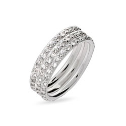Sterling Silver Triple Stackable CZ Ring Set