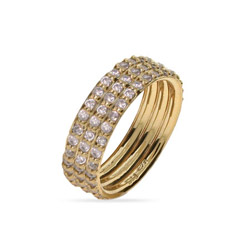 Gold Vermeil Triple Stackable CZ Ring Set