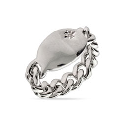 Engravable Sterling Silver Chain Link Ring with Single CZ