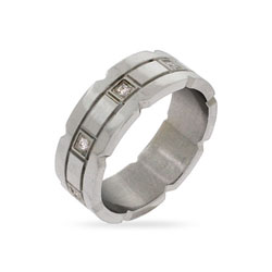 Designer Style Eight Stone CZ Stainless Steel Wedding Band
