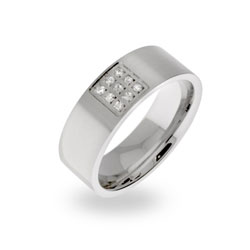Mens Designer Style Comfort Fit Stainless Steel Wedding Band