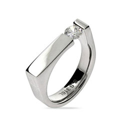Rectangle Signet Ring with Single CZ