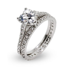 Sterling Silver Heart Shaped CZ Engagment Ring Set