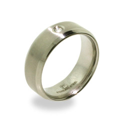 Brushed Stainless Steel Mens Ring with Inset CZ