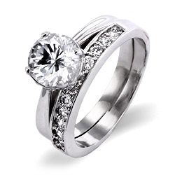 Classic Sterling Silver CZ Solitare Engagement Ring with CZ Wedding Band