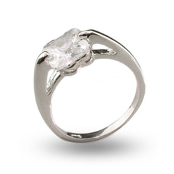 Solitare Cushion Cut CZ Sterling Silver Ring