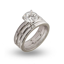 Classic Three Piece 2 Carat CZ Wedding Ring Set