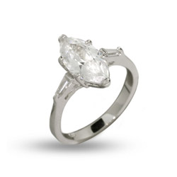 Simple Marquise Cut CZ Engagement Ring