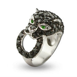 Shimmering Black Panther CZ Cocktail Ring