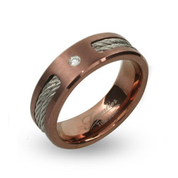 Mens Rose Gold Engravable Titanium Band with CZ and Cable Inlay
