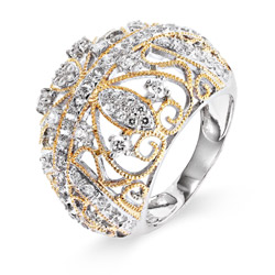 Vintage Style CZ Cocktail Ring with Gold Braid Design