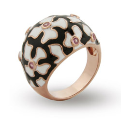 Sterling Silver Rose Gold Enamel Flower Ring