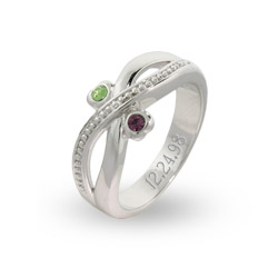 Sterling Silver Couples Birthstone Ring in Infinity Design