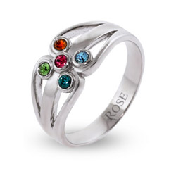 5 Stone Sterling Silver Swarovski Crystal Family Birthstone Ring