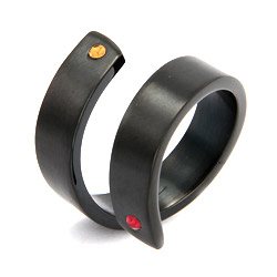 Engravable Black Plate Couples Birthstone Ring
