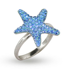 Sterling Silver Light Blue Swarovski Crystal Starfish Ring