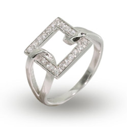 Modern Style Sterling Silver Looped Square CZ Ring