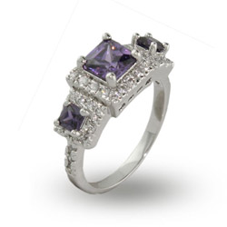 Elaborate Sparkling Princess Cut Amethyst Three Stone Ring