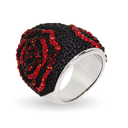 Sterling Silver Swarovski Crystal Black Lava Rose Ring