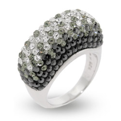 Black and White Swarovski Crystal Sterling Silver Ring