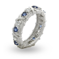 Tiffany Inspired Sapphire CZ Sixteen Stone Ring with Silver Xs