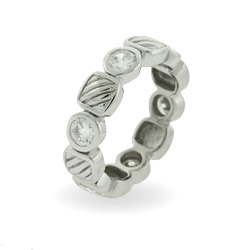 Designer Inspired CZ and Cable Eternity Ring