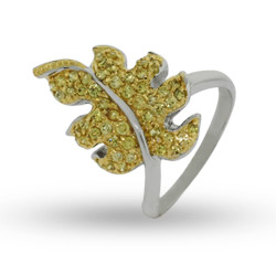 Golden Leaf Sterling Silver Cocktail Ring