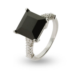 Princess Cut Black Onyx Cz Sterling Silver Ring