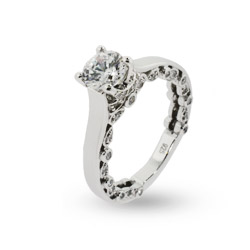 Sparkling Romance CZ Engagement Ring with Detailed Edges
