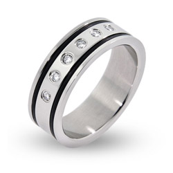 Mens Engravable Double Lined Black Inlay with CZs Stainless Steel Ring