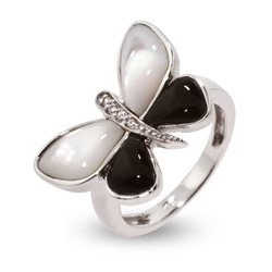 Mother of Pearl Onyx Sterling Silver Butterfly Ring